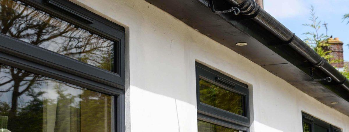 Black uPVC windows close up