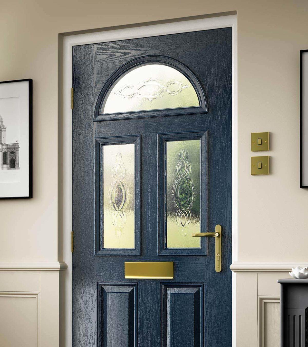 Blue composite door interior view
