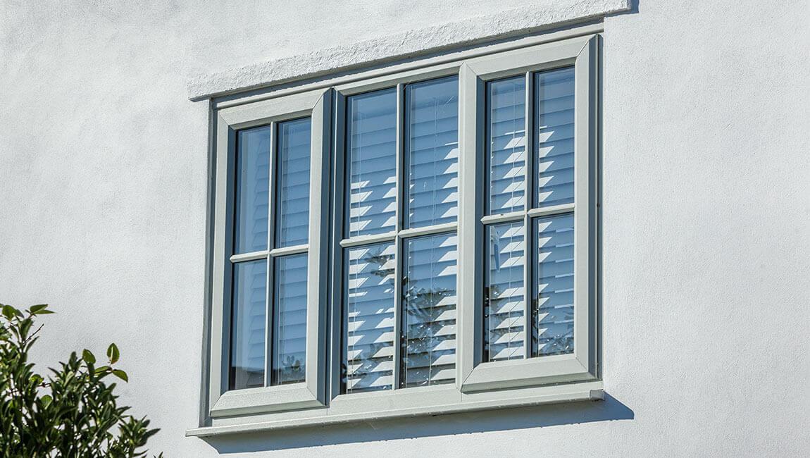 Grey uPVC casement window