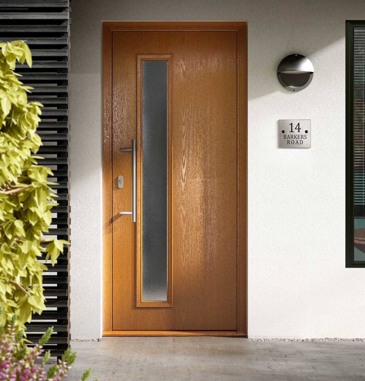 Modern oak effect composite door