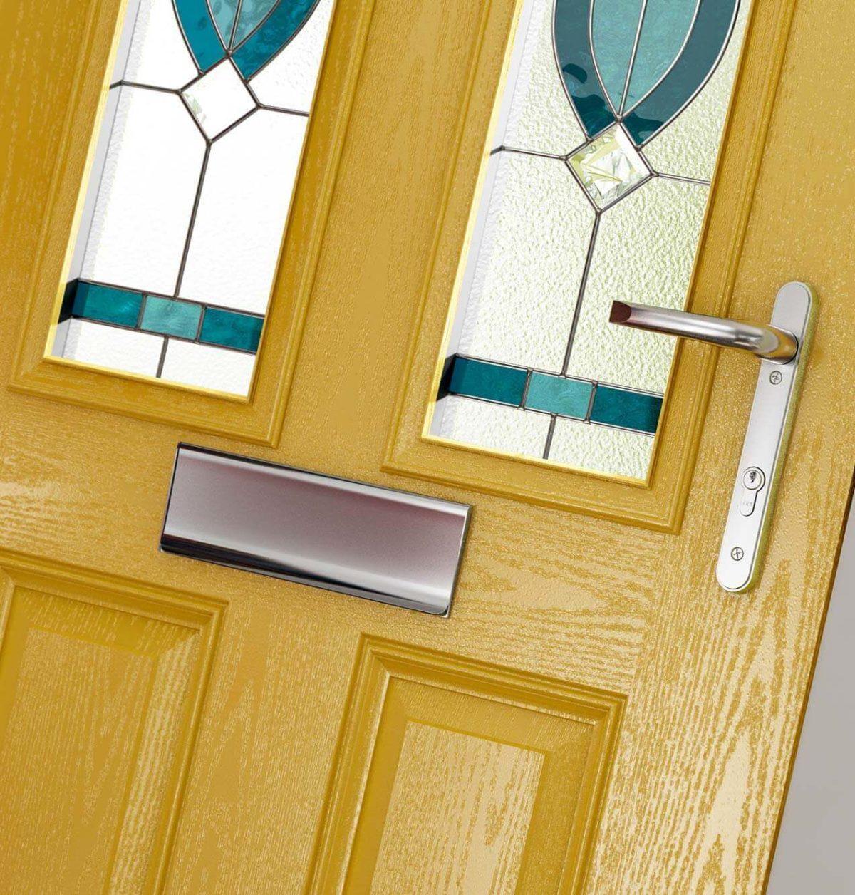 Yellow composite door close up