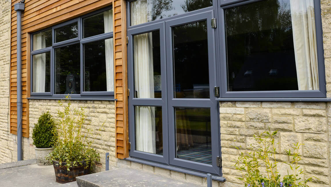 uPVC grey french doors