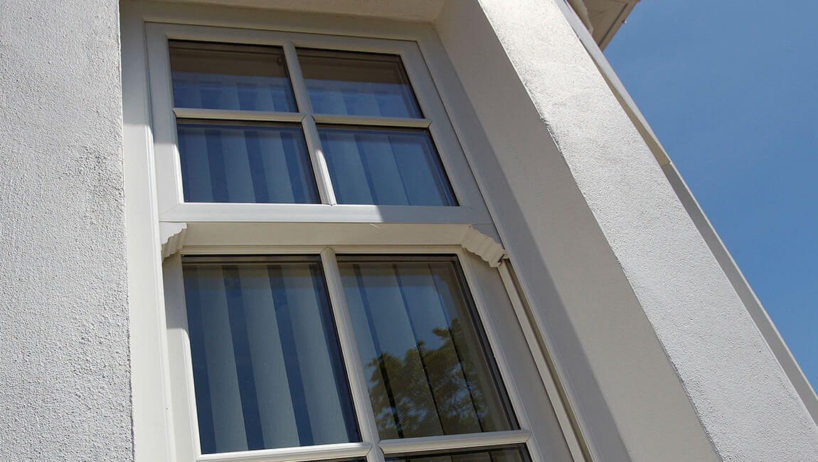 uPVC vertical slider close up