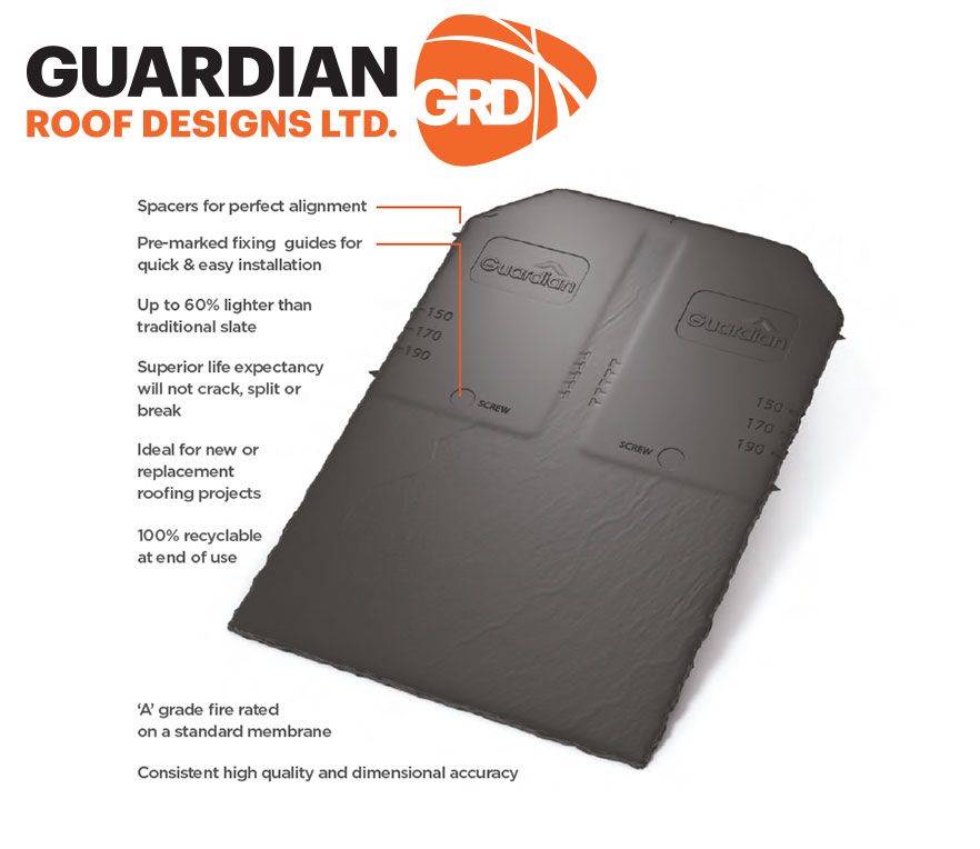 Guardian Roof Designs Guardian Slate Synthetic Tile that will not crack